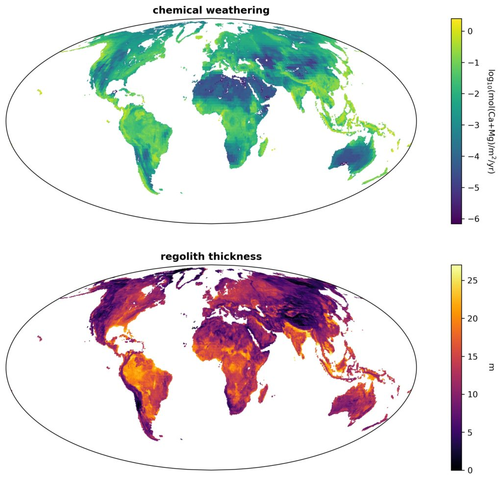 GEOCLIM chemical weathering and regolith thickness maps.